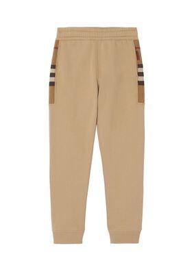 Check Panel Cotton Blend Jogging Pants