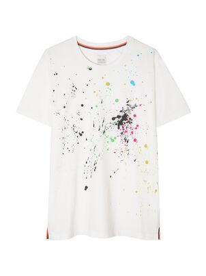 Women's White 'Paint Splatter' Print T-Shirt, , hi-res