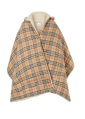 Fleece-lined Vintage Check Cotton Hooded Cape