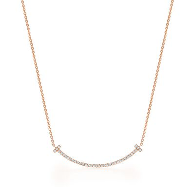 Tiffany T Smile Pendant in Rose Gold with Diamonds, Small