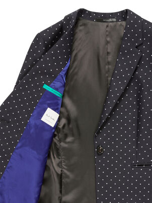 Women's Black Polka Dot One-Button Cotton-Stretch Blazer, , hi-res