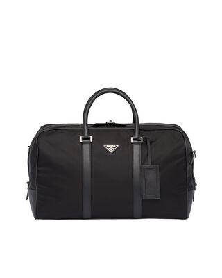 Nylon and Saffiano Leather Duffle Bag