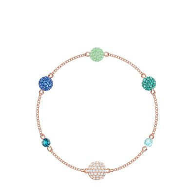 Remix Collection Pop Strand Green Rose-Gold Tone Plated Bracelet