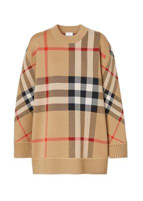 Check Technical Merino Wool Jacquard Sweater
