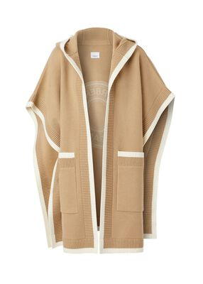 Logo Graphic Wool Cashmere Jacquard Hooded Cape