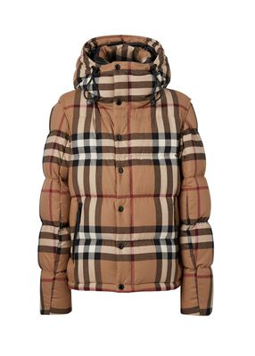 Detachable Sleeve Check Cotton Hooded Puffer Jacket