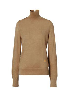 Monogram Motif Wool Silk Blend Funnel Neck Sweater