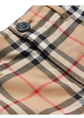 Vintage Check Cotton Tailored Shorts, , hi-res