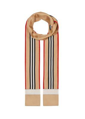 Icon Stripe Print Silk Skinny Scarf