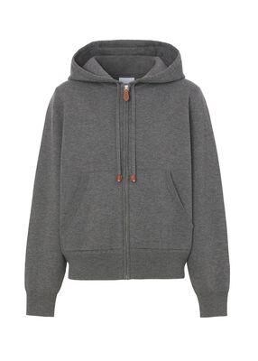 Monogram Motif Cashmere Cotton Hooded Top