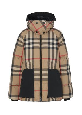 Detachable Hood Check Recycled Polyester Puffer Jacket