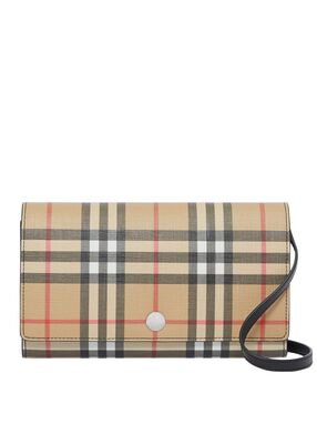 Vintage Check E-canvas Wallet with Detachable Strap