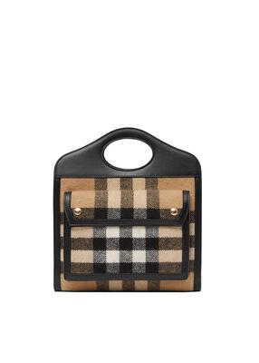Mini Check Cashmere and Leather Pocket Bag