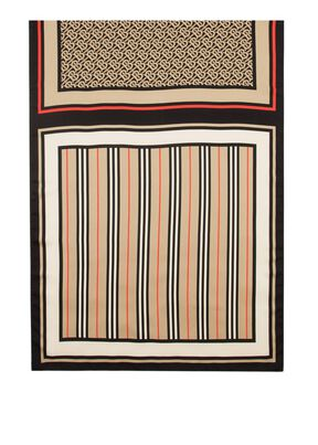 Monogram, Icon Stripe and Check Print Silk Scarf, , hi-res