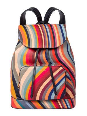 Women's Swirl Print Leather Backpack, , hi-res