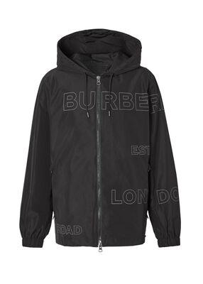 Horseferry Print Shape-memory Taffeta Hooded Jacket