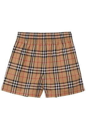 Side Stripe Vintage Check Stretch Cotton Shorts