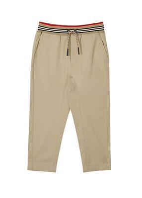 Icon Stripe Detail Cotton Twill Drawcord Trousers