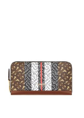 Monogram Stripe E-canvas and Leather Ziparound Wallet