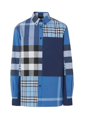 Patchwork Check Cotton Poplin Shirt