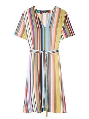 Women's Multi-Stripe V-Neck Midi Dress