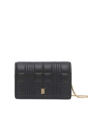 Quilted Lambskin Card Case with Detachable Strap