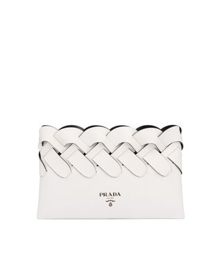 Prada Tress leather clutch with large woven motif