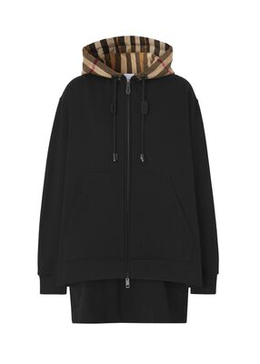Check Hood Cotton Oversized Hooded Top