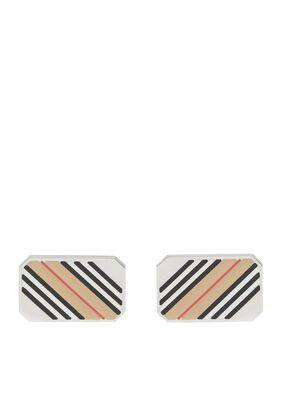 Icon Stripe Palladium-plated Cufflinks