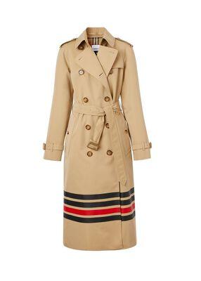 Stripe Detail Cotton Gabardine Trench Coat
