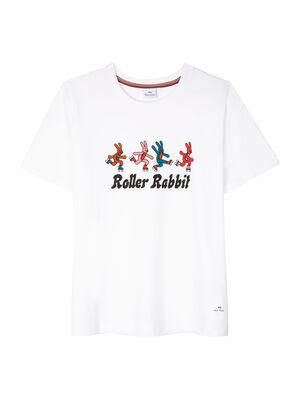 Women's White 'Roller Rabbit' Print Organic-Cotton T-Shirt