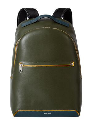 Men's Green Embossed Leather Backpack, , hi-res