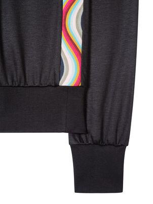 Women's Black Cotton-Blend Sweatshirt With 'Swirl' Trim, , hi-res