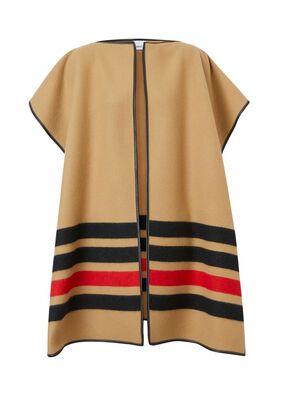 Stripe Detail Merino Wool Cashmere Cape