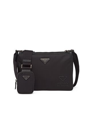 Re-Nylon and Saffiano leather shoulder bag