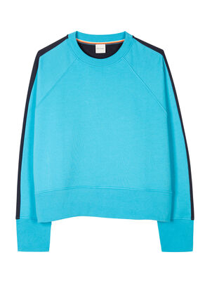 Women's Turquoise Cotton Sweatshirt With Navy Panel , , hi-res