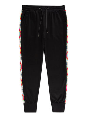 Women's Black Cotton-Blend Sweatpants With 'Swirl' Trim
