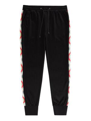 Women's Black Cotton-Blend Sweatpants With 'Swirl' Trim, , hi-res