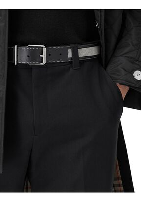 Cotton Canvas and Leather Belt, , hi-res