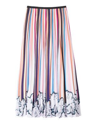 Women's Multi Stripe Pleated Skirt With Floral Hem