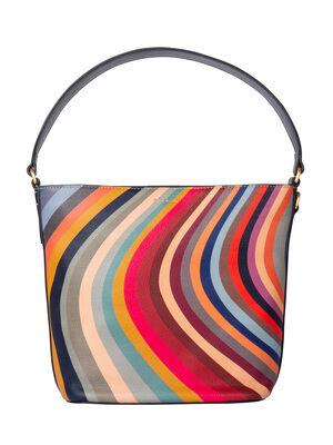 Women's 'Swirl' Print Small Leather Bucket Bag
