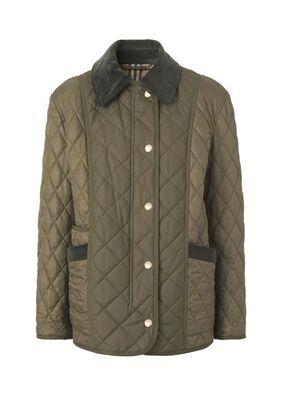 Corduroy Collar Diamond Quilted Jacket