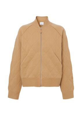 Diamond Quilted Wool Bomber Jacket