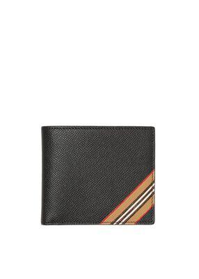 Icon Stripe Print Leather International Bifold Wallet
