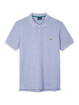 Men's Pale Blue Organic Cotton-Piqué Zebra Polo Shirt