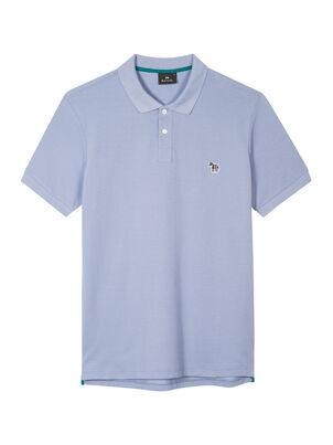 Men's Pale Blue Organic Cotton-Piqué Zebra Polo Shirt, , hi-res