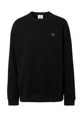 Monogram Motif Appliqué Cotton Sweatshirt