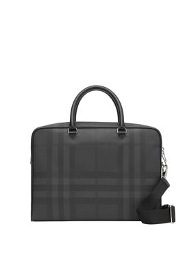 London Check and Leather Briefcase