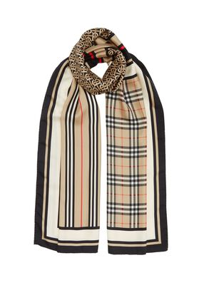 Monogram, Icon Stripe and Check Print Silk Scarf