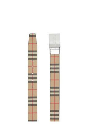 Reversible Plaque Buckle Vintage Check E-canvas Belt, , hi-res